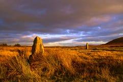 Mitchel's Fold. A stone circle at Mitchel's Fold, Wales stock photo