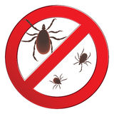 Mite spider. Mite red. Mite allergy. Epidemic. Mite parasites. Vector illustration symbol parasite warning sign. Stock Photo