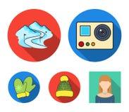 Mitenes, chapéu morno, pista do esqui, câmera do movimento Os ícones ajustados da coleção da estância de esqui no estilo liso vec ilustração stock