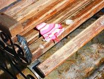 Mitenes/luvas pequenos do bebê que penduram por uma linha no dia de inverno Imagens de Stock Royalty Free