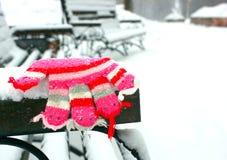 Mitenes/luvas pequenos do bebê que penduram por uma linha no dia de inverno sob a neve de queda Imagens de Stock