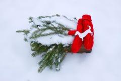 Mitenes vermelhos, figura do cão e ramos de árvore verdes do abeto na caixa decorativa de madeira na neve Fotos de Stock
