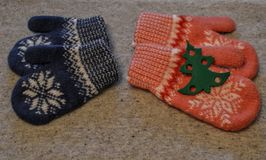 Mittens for boys and girls royalty free stock photo
