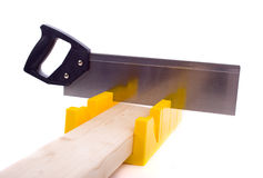 Miter Box with Saw Stock Photo