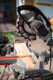 Miter Saw on a construction site Stock Photos