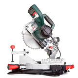 Miter saw isolated. Power chop saw on white background stock photo
