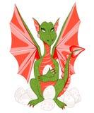 Mitfühlender Mutterdrache mit roten Flügeln und Grünskalen mit einem Ei Lizenzfreie Stockfotos