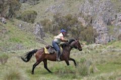 Mitfahrer des weiblichen Pferds stockfotografie
