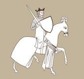 mitfahrer Rider Medieval König On Horseback Vektor-Reiter Rider With The Sword Ein bewaffneter König lizenzfreie abbildung