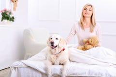 stockbilder frau hund bequem bett schlafen image