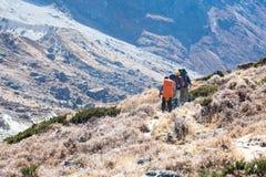 Mitglieder der Gebirgsexpedition gehend auf Fußweg im Tal lizenzfreies stockfoto