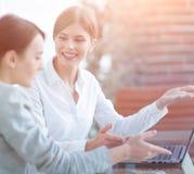 Mitglieder des Geschäfts team das Arbeiten mit Laptop Stockbild