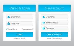 Mitglieder-Login und neue Kontowebsiteformen Lizenzfreie Stockfotografie