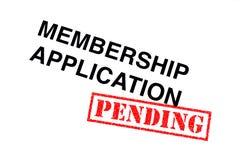 Mitgliedschafts-Anwendung schwebend stockfoto