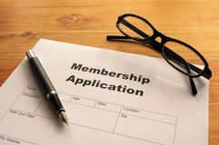 Mitgliedschaftsanwendung Stockfoto