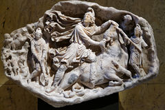Mithras Relief. Ancient roman, second century AD stock image