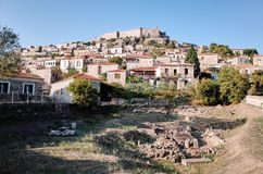 Mithymna or Molyvos. Mithymna, LESVOS - OCTOBER 10, 2014 : View of town of Molyvos or Mithymna with historic castle on hill stock photos