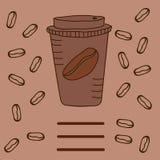 Mitnehmerkaffee auf einem dunklen Hintergrund stockfoto