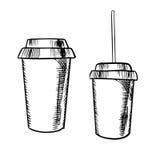 Mitnehmerkaffee- und Sodagetränkskizzen Stockfotos