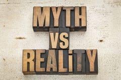 Mito contra realidad Imagen de archivo libre de regalías