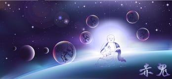 Mitología budista ilustración del vector