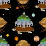Mitologicznej planety ziemi Bezszwowy wzór stara mapa tło ilustracja wektor