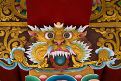 Mitologiczny wizerunek lew w Buddyjskim monasterze indu Obraz Royalty Free
