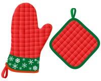 Mitones y Potholder del horno de la Navidad Imagenes de archivo