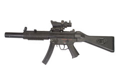 Mitragliatrice leggera MP5 con il silenziatore isolato Immagine Stock