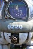 Mitragliatrice su un vecchio aeroplano militare Immagine Stock