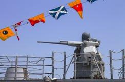 Mitragliatrice sul distruttore della marina statunitense durante la settimana 2012 della flotta Immagine Stock Libera da Diritti
