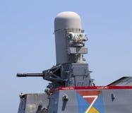 Mitragliatrice sul distruttore della marina statunitense durante la settimana 2012 della flotta Fotografia Stock