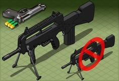 Mitraillette et pistolet isométriques en Front View Photographie stock libre de droits