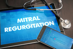 Mitral regurgitation (heart disorder) diagnosis medical concept. On tablet screen with stethoscope stock images