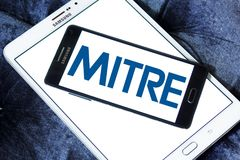 Mitre Corporation logo. Logo of Mitre Corporation on samsung mobile. MITRE is a not-for-profit organization that operates research and development centers Royalty Free Stock Photography