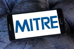 Mitre Corporation logo. Logo of Mitre Corporation on samsung mobile. MITRE is a not-for-profit organization that operates research and development centers Stock Photo