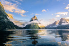 The mitre peak in milford sound. Mitre peak milford sound in morning , I went go milford sound and travel by ferry tour Royalty Free Stock Image