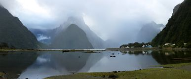 Mitre peak in Milford sound New Zealand Royalty Free Stock Images