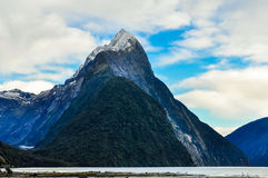 The Mitre Peak in the Milford Sound, New Zealand Stock Photos