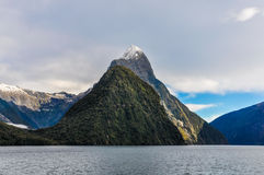The Mitre Peak in the Milford Sound, New Zealand Stock Images