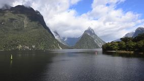 Mitre Peak mountain in Milford Sound, New Zealand. It's an iconic mountain and one of the most photographed peaks in New Zealand stock video