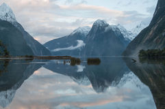 Mitre Peak at sunset. Milford Sound. Royalty Free Stock Images