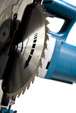 Mitre Saw. Main Assembly of Mitre Saw with Blade Teeth in Focus stock image