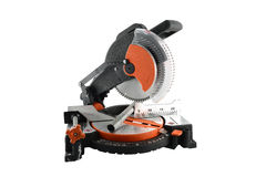 Mitre Saw and iron rods Royalty Free Stock Photography