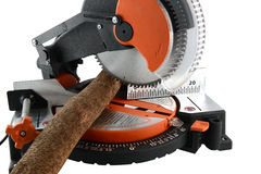 Mitre Saw and wood Royalty Free Stock Images
