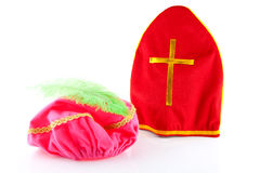 Mitre of sinterklaas and hat of zwarte piet Royalty Free Stock Photography