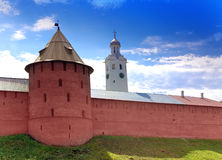 Mitropolichya tower and Clock tower. The Kremlin (Detinets-stronghold). Great Novgorod. Russia.Cityscape in a sunny day Royalty Free Stock Image