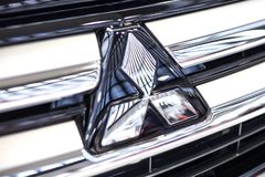Mitsubishi car. BELGRADE, SERBIA - MARCH 28, 2017: Detail of Mitsubishi car in Belgrade, Serbia. Mitsubishi Corporation is Japan largest trading company Royalty Free Stock Photos