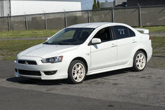 Mitsubishi compact car. Front side view of white mitsubishi lancer in the car show during drag fever october 10, 2016 at napierville dragway Stock Photos