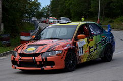 Mitsubishi Evo. Mitsubisi Evo at Jankov Vršok at the races Royalty Free Stock Photo